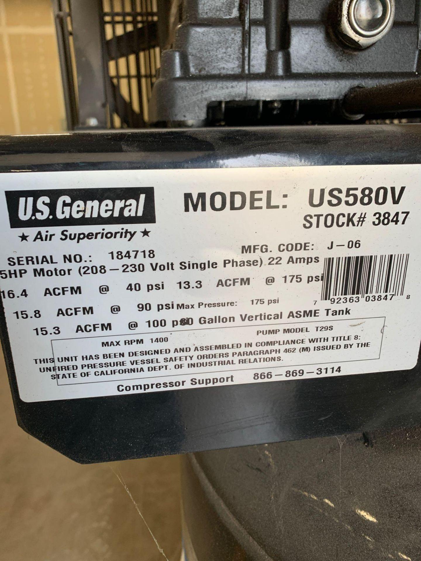 US General 80gal 5HP Air Compressor - Image 3 of 4