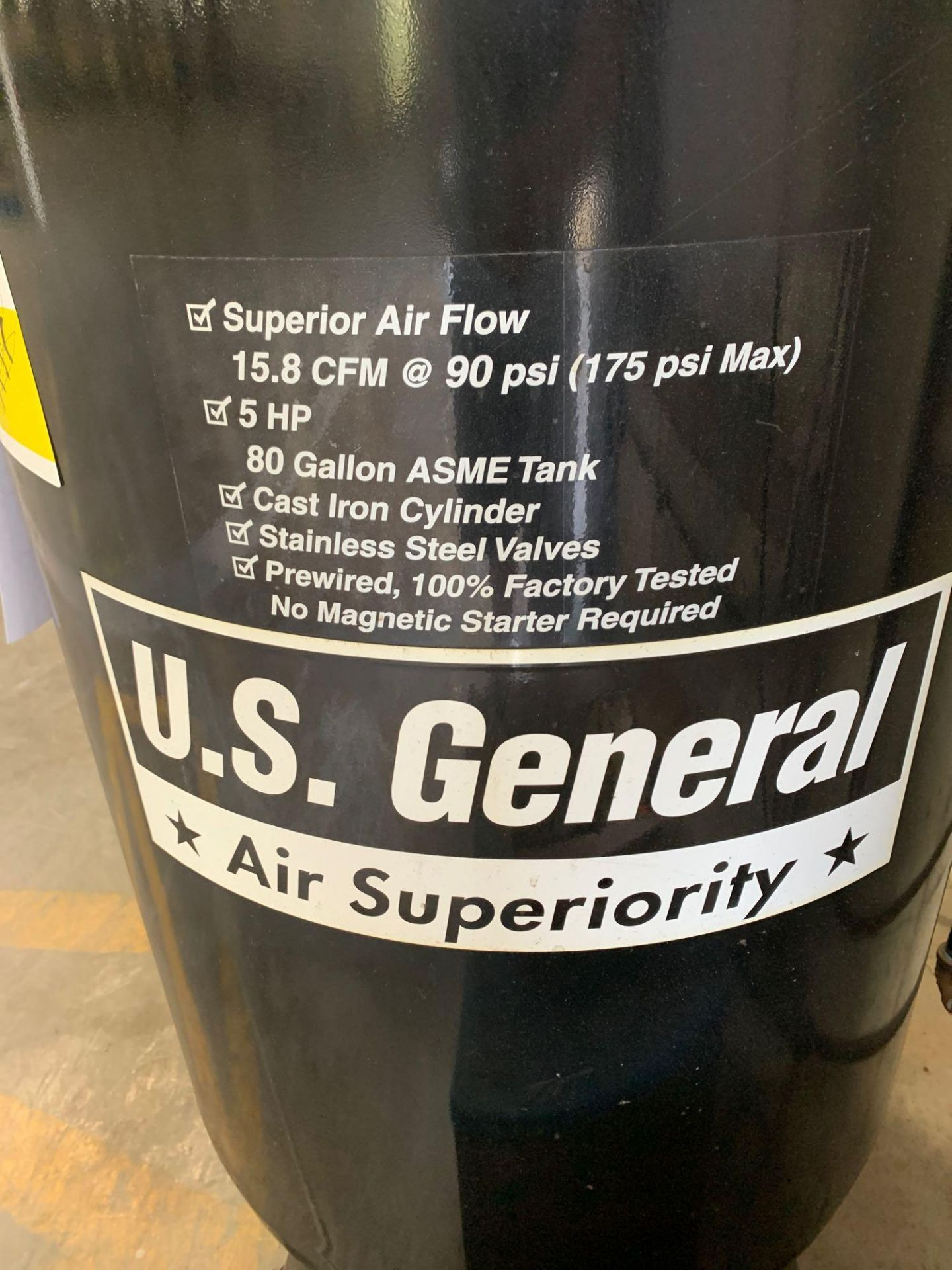 US General 80gal 5HP Air Compressor - Image 2 of 4