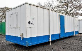 32 ft x 10 ft steel anti vandal jack leg office site unit BBA1619 ** No keys & door missing **