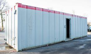 32 ft x 10 ft steel anti vandal office site unit GT34752 ** No keys & 1 door missing **