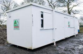 32 ft x 10 ft steel anti vandal jack leg office site unit c/w keys NG3045511