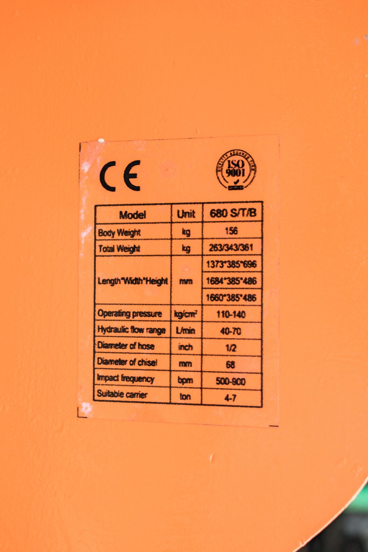 Lot 251 - Hirox 680 S/t/B hydraulic breaker to suit 4 to 7 tonne midi excavator ** Unused **