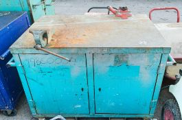 Mobile steel work bench c/w bench vice & pipe vice