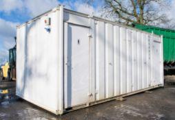 21 ft x 9 ft steel jack leg toilet site unit Comprising of: Men's toilet (4 cubicles, 3 urinals &