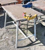 Collapsible steel work bench c/w engineers vice & pipe vice