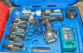 Uponer cordless pipe crimping kit c/w charger, 2 - batteries, 4 - jaws & carry case