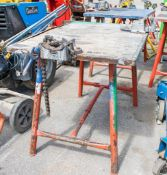 Collapsible steel work bench c/w pipe vice & engineers vice MTWTF55