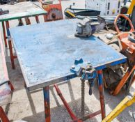 Collapsible steel work bench c/w pipe vice & engineers vice CWB08011