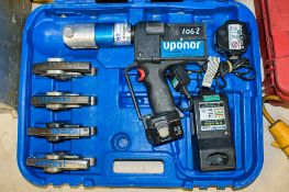 Uponer cordless pipe crimping machine c/w 4 jaws, 2 batteries, charger & carry case