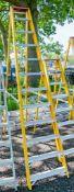 12 tread fibreglass framed aluminium step ladder