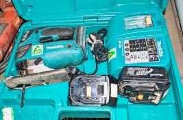 Makita BJV180 135mm 18v cordless jigsaw c/w 2 batteries, charger & carry case A621695