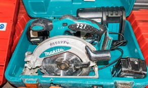 Makita BSS610 105mm cordless circular saw c/w 2 batteries, charger & carry case A550774
