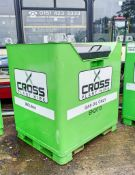 Cross Plant 900 litre fuel cube bunded static fuel bowser c/w hand pump, delivery hose & trigger