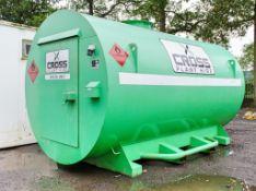 Cross Plant 10,000 litre bunded static fuel bowser c/w petrol driven fuel pump, retractable fuel