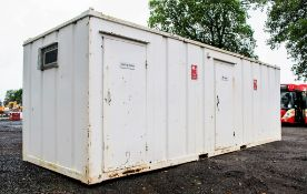 21 ft x 9 ft steel anti vandal toilet/drying room site unit Comprising of 3 urinals, 3 cubicles, 3
