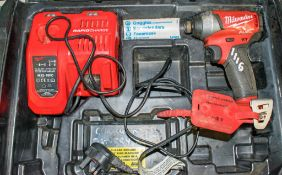 Milwaukee 18v cordless screw gun c/w charger & carry case ** No battery **