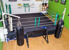 16ft x 16ft competition boxing ring c/w 2 Ringside 5ft boxing bags ** No VAT on hammer price but VAT