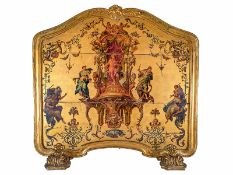 Louis XV-Kaminschirm 106 x 111 x 28 cm. Italien, um 1750. Auf zwei plastisch ausgestalteten