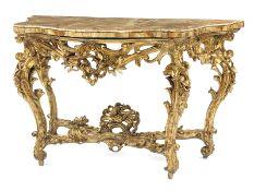 Aufwendig gestaltete Louis XV-Konsole Höhe: 95 cm. Breite: 154 cm. Tiefe: 78 cm. Italien, 18.