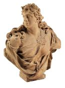 Frauenbüste Höhe: 83 cm. Breite: 69 cm. Tiefe: 29 cm. Italien. Terrakotta, gegossen, geformt. In
