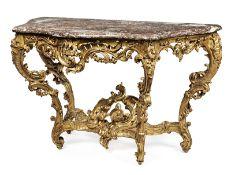 Große Louis XV-Konsole Höhe: 85,5 cm. Breite: 142 cm. Tiefe: 65 cm. Frankreich, um 1740. Holz,