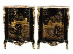 """Paar grosse Encoignuren 107 x 79 x 59 cm. Jacques Dubois (1694 Pontoise """""""" 23. Oktober 1723"""