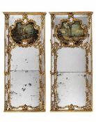 Paar Trumeau-spiegel Höhe: 254 cm. Breite: 105 cm. Venezianischer Palazzo, 18. Jahrhundert.