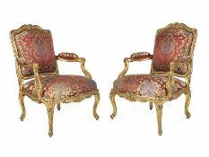 Paar Louis XV-Fauteuils à la reine Lehnhöhe: 99 cm. Breite: 96 cm. Tiefe: 76 cm. Louis Cresson (1706