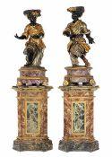 Paar figürliche Salondekorationen Höhe: 195 cm. Höhe ohne Sockel: 100 cm. Venedig, 18./ 19.