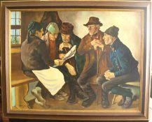 Ölgem. 1942 W. Schroeder.Idealisierte Szene vom Bürgertreffen