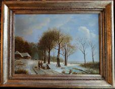 Holzsammler in Winterlandschaft