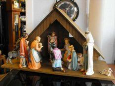 Rarität alte Goebel Krippe 14-tlg plus Stall Heilige Familie 3 Könige Esel Ochse Hirten