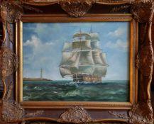 Niederländischer Meister 2. Hälfte 19. Jahrhundert, SEGELSCHIFF AN DER KÜSTE