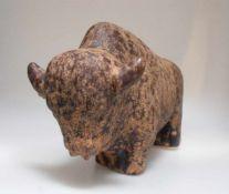 Büffel Skulptur aus Keramik von Kurt Tschörner für Ruscha, 1960er