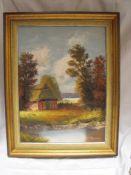 Heidelandschaft Ölgemälde auf Leinwand Original von M. Jansen