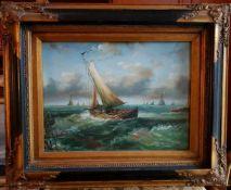 Niederländischer Meister 2. Hälfte 19. Jahrhundert, SEGELSCHIFFE AUF HOHER SEE