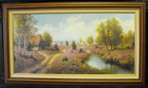 Gerhard Nesvadba - Kunstdruck / Ölfarbendruck vom Ölgemälde Heidelandschaft