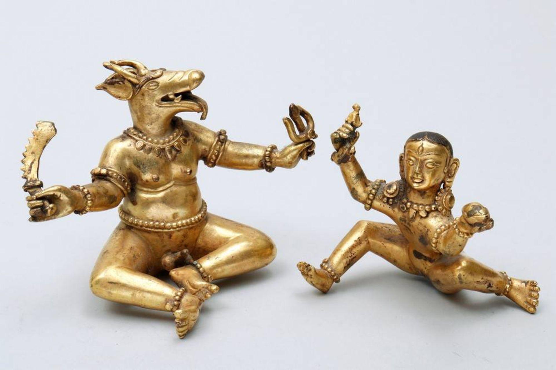 Buddhistische Gottheit Nepal/Tibet, 18./19.Jh., wohl Yama Dharmaraja mit Chamundi, in sitzender