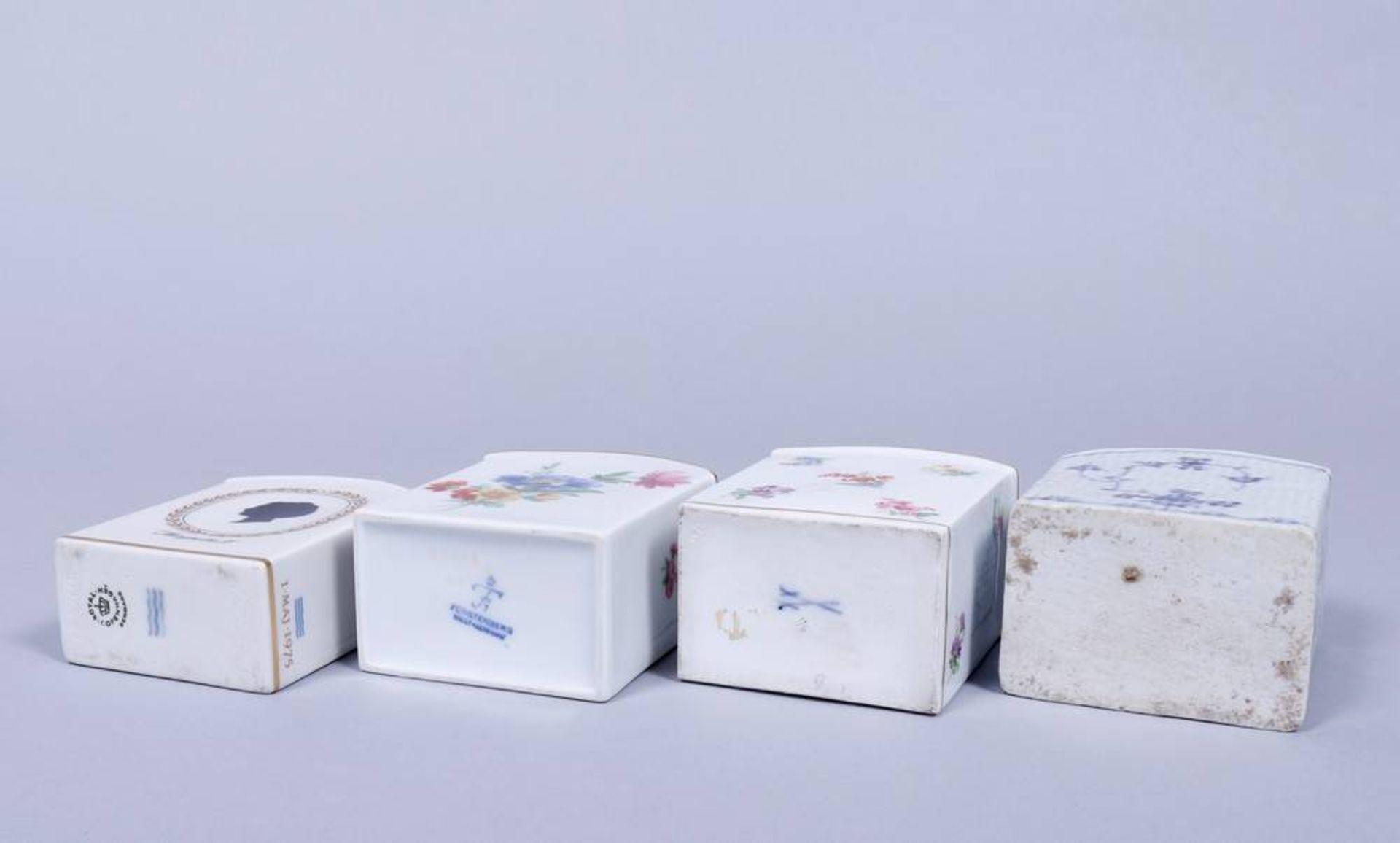 Konvolut Teedosen, u.a. Meissen und Royal Kopenhagen, 19./20.Jh. rechteckige Korpi mit gerundeten - Bild 3 aus 5