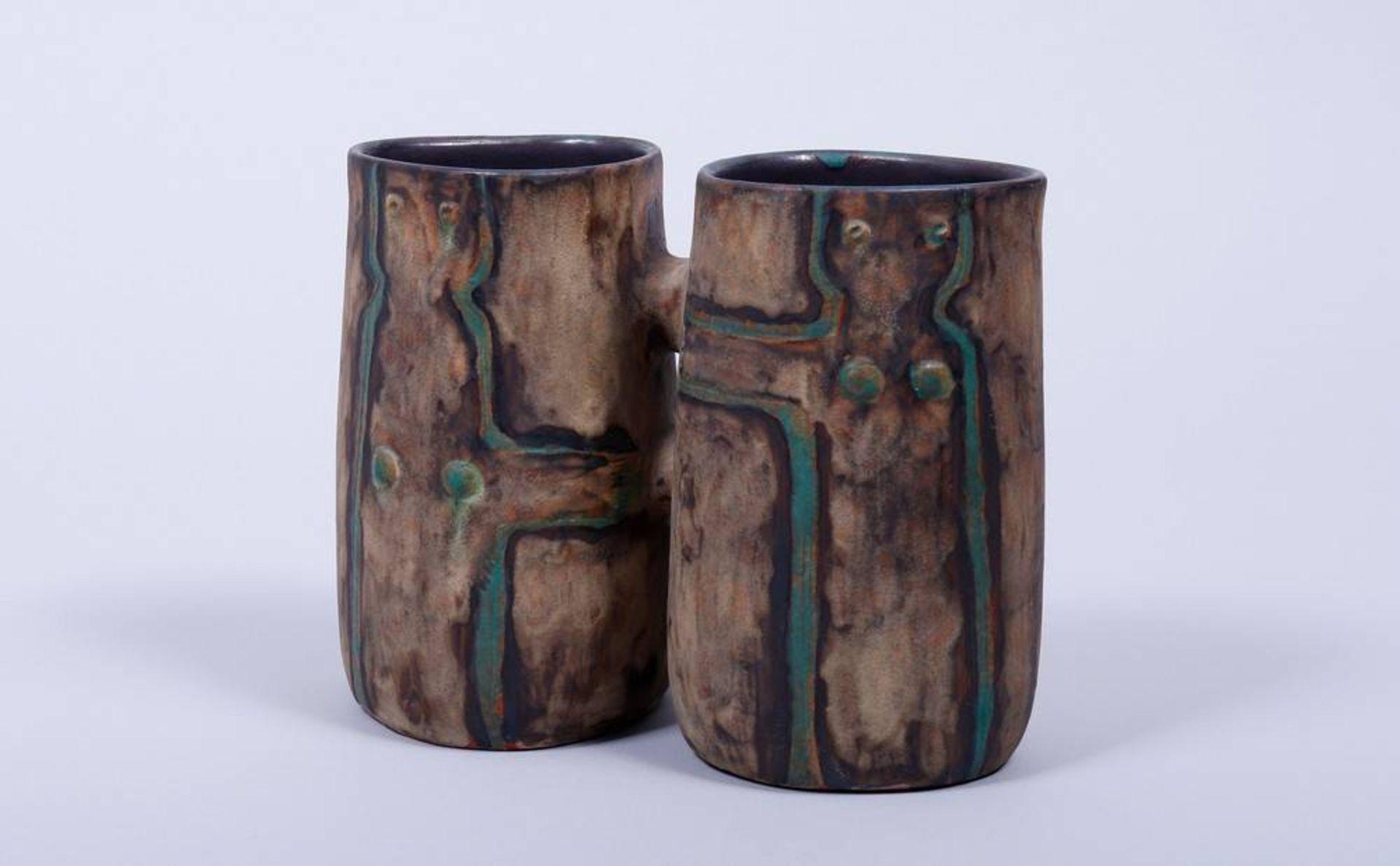 Doppel-Vase, Entwurf Eva Fritz-Lindner (1933-2017) für Staatliche Majolika Manufaktur Karlsruhe,