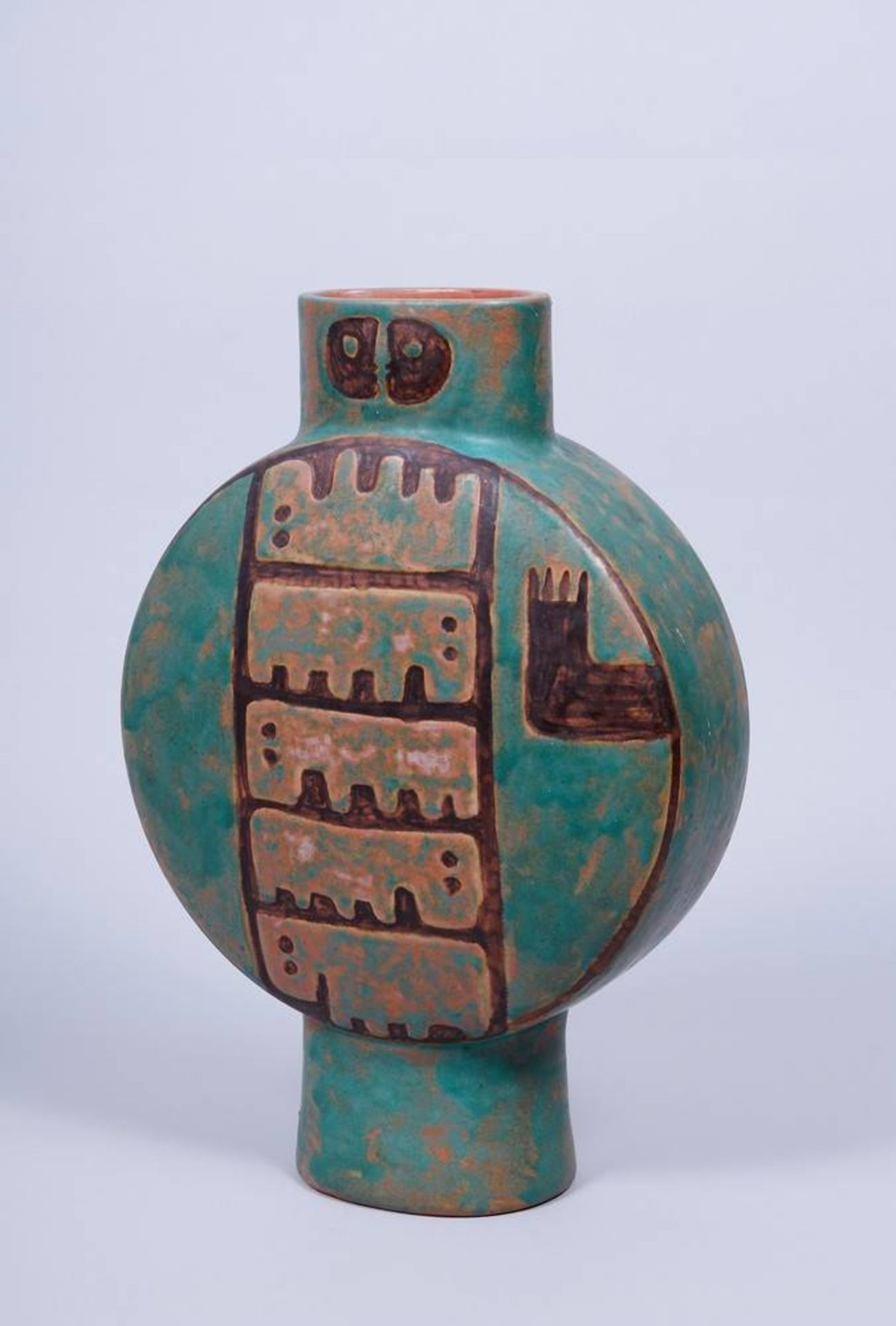 Große Vase, wohl Eva Fritz-Lindner, 20.Jh. auf ovalem Standring, runder Korpus mit