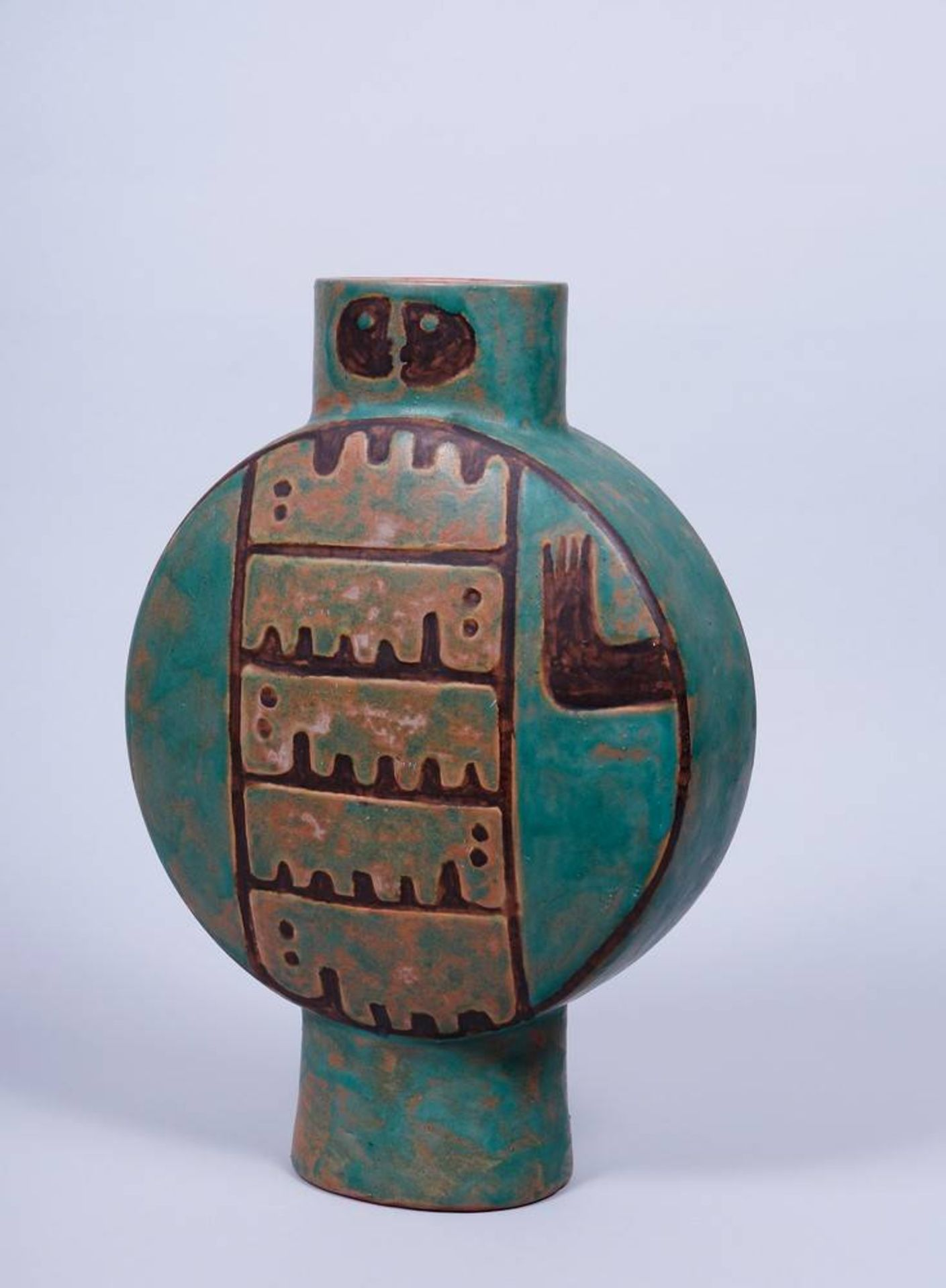 Große Vase, wohl Eva Fritz-Lindner, 20.Jh. auf ovalem Standring, runder Korpus mit - Bild 2 aus 4