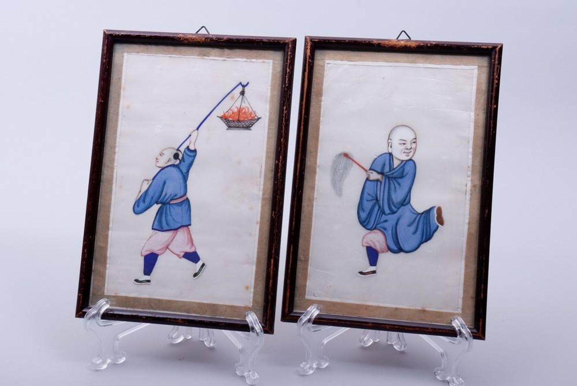 2 kleine Bilder, China, um 1900/20 Gouache auf Seide, figürliche Darstellungen, 19x11,5cm (