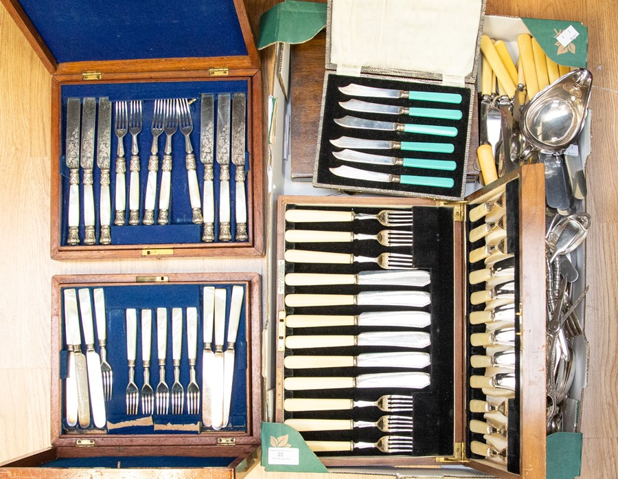 Lot 22 - A collection of flat wares, boxed and unboxed some silver items and other Sheffield plated items