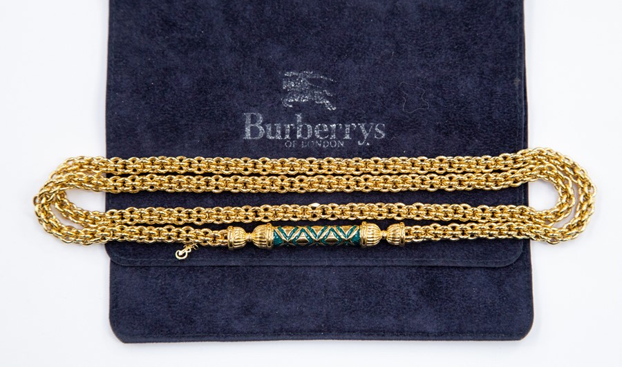 Lot 241 - A Burberry gold-plated heavy chain necklace, with enamelled bar