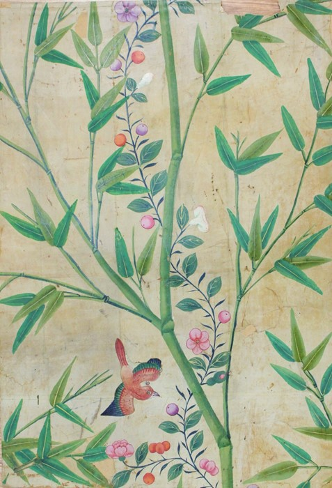 Lot 3215 - Four samples of 19th century ceiling and wall paper to comprise: a Lincrusta panel, heavily