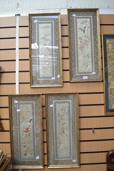 Lot 2154 - Mid 20th Century Chinese framed silks, set of four