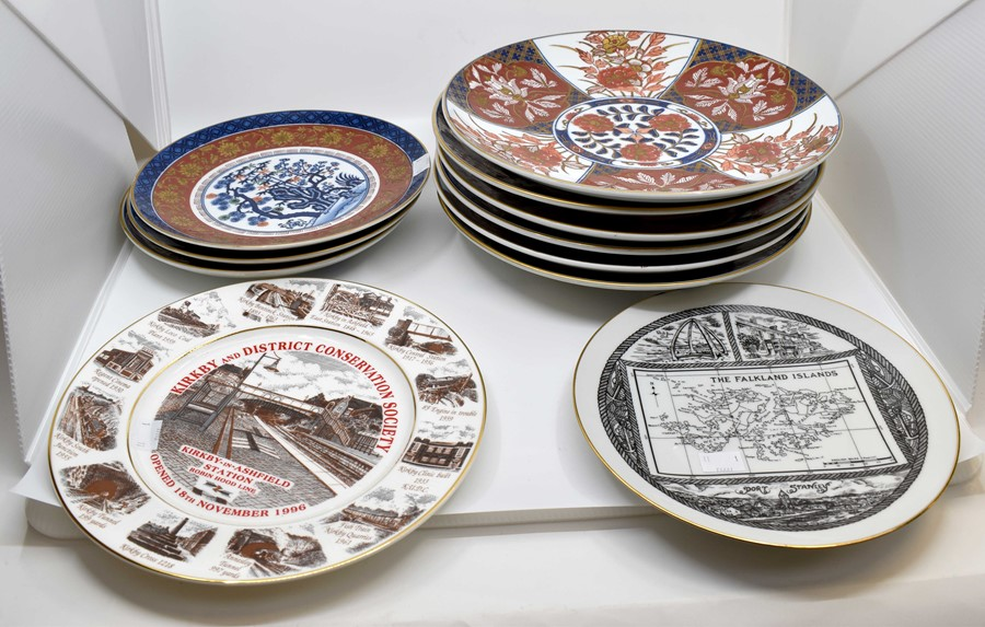 Lot 1163 - A collection of assorted Japanese Imari cabinet plates, hand painted and some transfer printed,