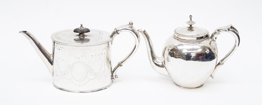 Lot 52 - An early 19th century continental Dutch teapot 800 standard, bullet shaped, scrolled anthemion thumb