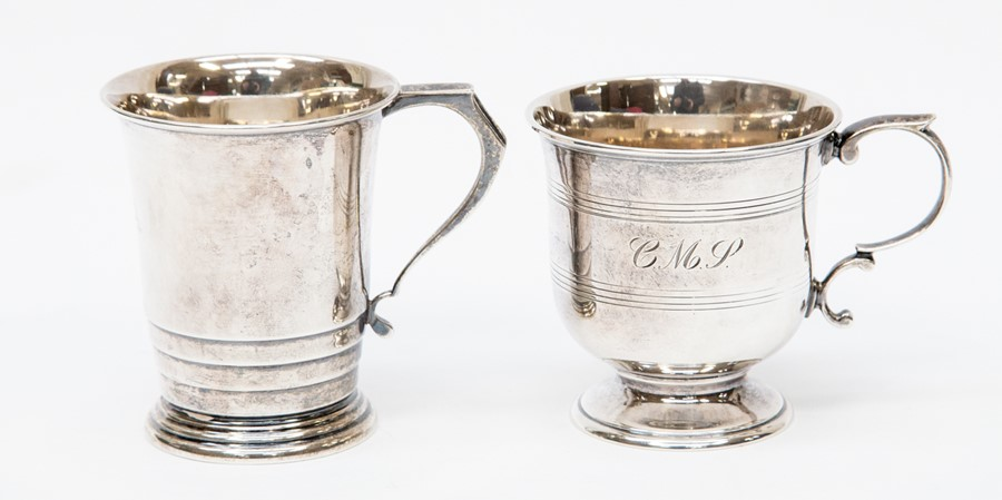 Lot 45 - London 1965  and Birmingham 1939 silver christening mugs 7.38 ozt approx